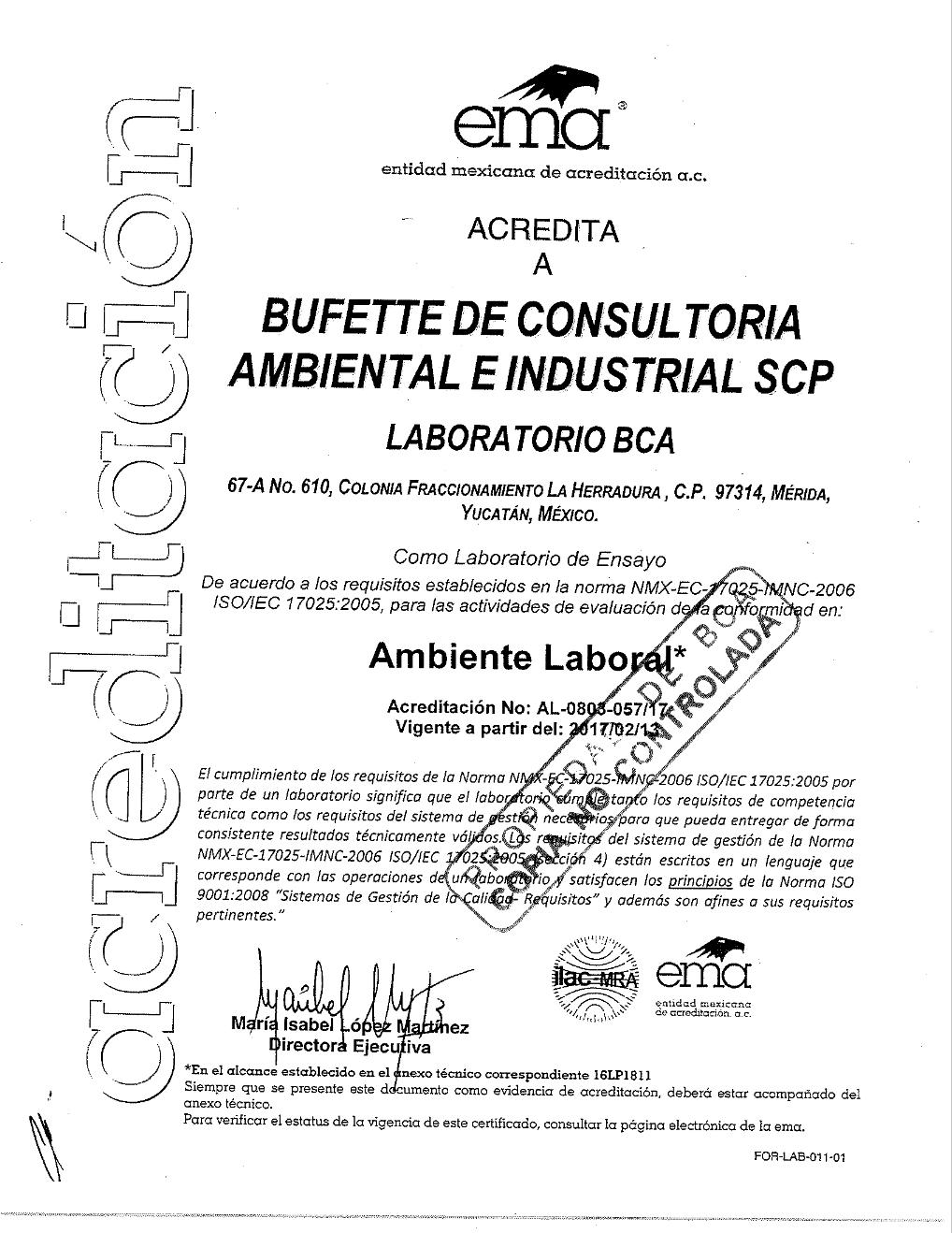 Acreditación como laboratorio de ensayos: Ambiente Laboral.